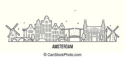 アムステルダム, ベクトル, netherlands, 建物, 都市 スカイライン