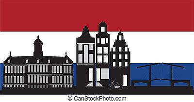 アムステルダム, 旗, スカイライン, オランダ語