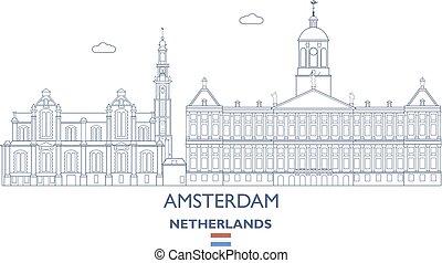 アムステルダム, netherlands, スカイライン, 都市