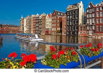 アムステルダム, netherlands., 家, 運河, ダンス, damrak, オランダ