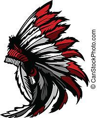 アメリカインディアン, ネイティブ, 頭, 羽