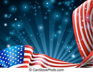 アメリカ人, デザイン, 旗, 背景