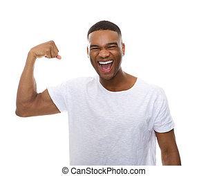 アメリカ人, 曲がる, 人, アフリカ, 筋肉, 腕, 幸せ