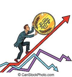 アメリカ, ドル, の上, ビジネスマン, コインロール