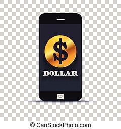 アメリカ, 交換, モビール, ペーストされた, ドル, 適用, ペーパー, 写真, pone