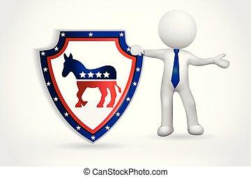 アメリカ, 人々, シンボル, -, 小さい, 民主的, 3d
