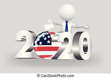 アメリカ, 人々, -, 小さい, 2020, 投票, ロゴ, 3d