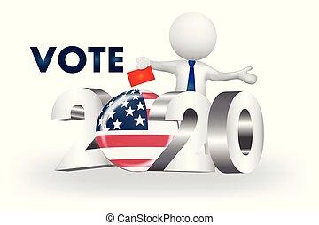 アメリカ, 人々, -2020, 小さい, ベクトル, 投票, ロゴ, 3d
