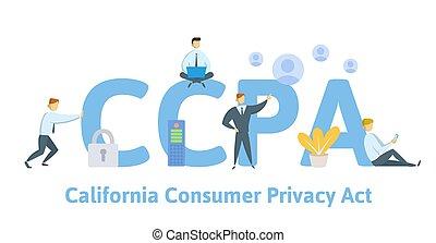 アメリカ, 個人的, データ, ベクトル, 消費者, ccpa, protection., カリフォルニア, プライバシー, style., 平ら, イラスト, 概念, act., セキュリティー