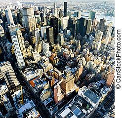 アメリカ, 都市, マンハッタン, 州, ヨーク, 新しい, 帝国, 建物, 光景