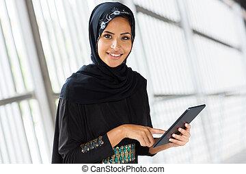 アラビア人, コンピュータ, 女の子, タブレット