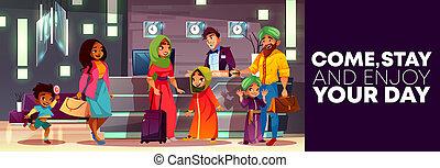 アラビア人, ホテルの受信, 家族, 漫画