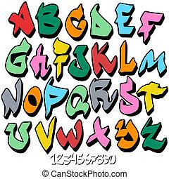 アルファベット, 壷, 落書き