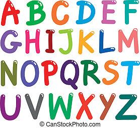 アルファベット, 手紙, カラフルである, 資本