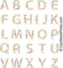 アルファベット, 花, カラフルである