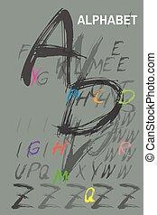 アルファベット, sketchy, インク, 活版印刷, 引かれる