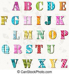 アルファベット, textured