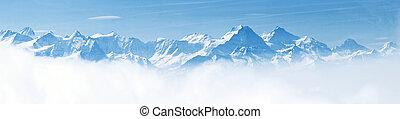 アルプス, 山, 雪の景色, パノラマ