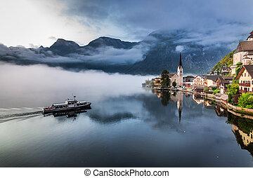 アルプス, 霧が濃い, 湖, 朝