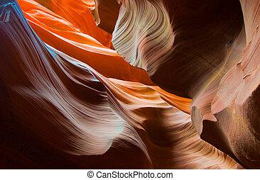 アンテロープ, アメリカ, アリゾナ, 形, 峡谷, abstact