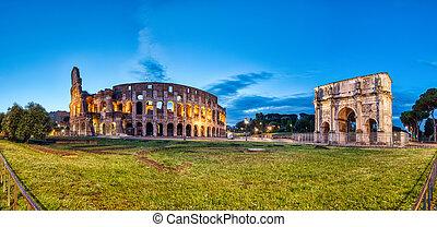 アーチ, colosseum, 夕闇, パノラマ, ローマ, constantine, 照らされた
