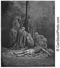 イエス・キリスト, の上, 塗りなさい, 女性, 縛り