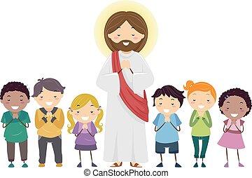 イエス・キリスト, 祈ること, stickman, イラスト, 子供