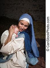 イエス・キリスト, mary, 幸せ, 赤ん坊, 母