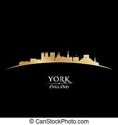 イギリス\, 黒い背景, スカイライン, 都市, ヨーク, シルエット