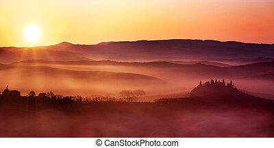 イタリア語, 風景, 夜明け, 田舎