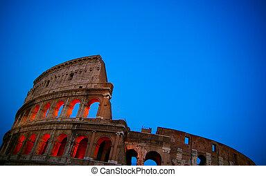 イタリア, colosseum, ローマ, 夕闇