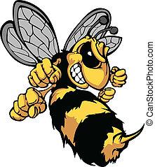 イメージ, ベクトル, 漫画, スズメバチ, 蜂