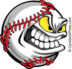 イメージ, ボール, 野球, 漫画, 顔