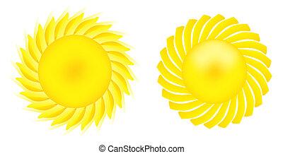 イメージ, 太陽 セット, 照ること, すてきである