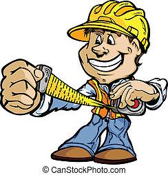 イメージ, 幸せ, handyman, 建築業者, 地位, ベクトル, 漫画