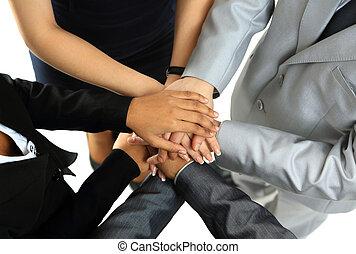 イメージ, 手, パートナー, ビジネス, 交際, symbolizing, 他, 上, 統一, それぞれ