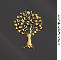 イメージ, 木, 金, ロゴ, 植物
