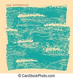 イメージ, 水, 青い背景, 海, ベクトル, waves.