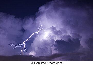 イメージ, 稲光, 望遠レンズ, 嵐, 夜, 攻撃しなさい, の間