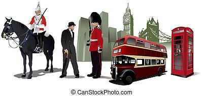 イメージ, 都市, ロンドン, 背景, 少数