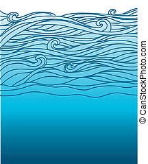 イメージ, 青い背景, 海, ベクトル, デザイン, waves.