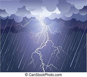 イメージ, strike., 雨 雲, ベクトル, 暗い, 稲光