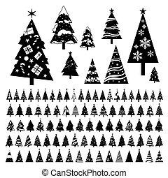 イラスト, クリスマス, ベクトル, 背景, 木, 白