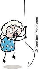 イラスト, ロープ, ベクトル, おばあさん, -, 古い 女性, 掛かること, 漫画
