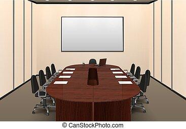 イラスト, 会議, 内部, 部屋
