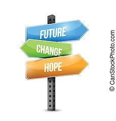 イラスト, 印, デザイン, 変化しなさい, 未来, 希望