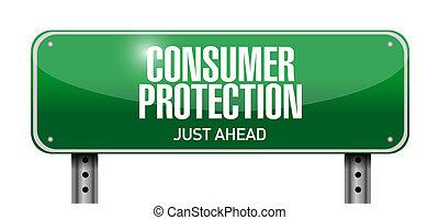 イラスト, 印, 保護, デザイン, 消費者, 道