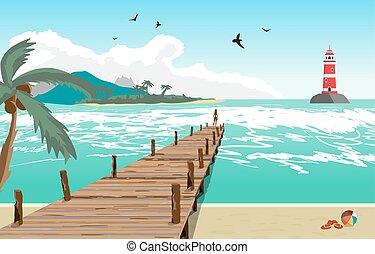 イラスト, 夏, 灯台, pier., 古い, 平ら, 木製である, 島, ベクトル, 桟橋, 浜, 女, ヤシの木, 海, シルエット, 距離。, 風景, 光景