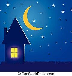 イラスト, 夜, 家