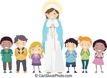 イラスト, 子供, 母, stickman, mary, ロザリオ